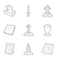 burial service icons set outline style vector image vector image