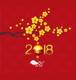 calendar 2018 chinese new year cherry blossom vector image vector image