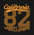 california varsity typography for design t-shirt vector image vector image