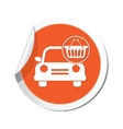 car with basket icon orange label vector image