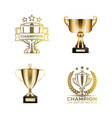 champion awards in form of cups and certificates vector image vector image