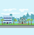 city with three-story and two-story cartoon vector image vector image