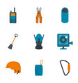 climbing travel icon set flat style vector image vector image