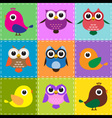 colorful patchwork background with owls and birds vector image