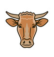 cute cow portrait symbol farm animal food vector image