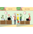 Digital company work time and end of work vector image vector image