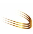 Dynamic golden abstract motion on white background vector image vector image