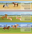 equestrian sport flat horizontal banners vector image vector image