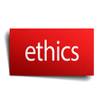 ethics red square isolated paper sign on white vector image vector image