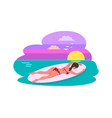 female lying on surfboard summer activity vector image