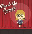 female stand up comedian cartoon character vector image vector image