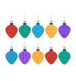 flat colorful christmas ornate tree toys or balls vector image vector image