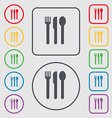 fork knife spoon icon sign symbol on the Round and vector image vector image