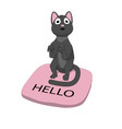 friendly cat sitting on the rug vector image vector image