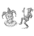 funny jester in fool s cap clown in costume vector image vector image