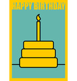 Happy birthday Postcard in minimalist style Cake vector image