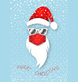hipster santa claus head wears red medical mask vector image vector image