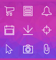 interface icons line style set with shopping vector image vector image