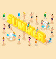 isometric letters summer font people characters vector image vector image