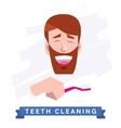 Man cleaning teeth Beautiful white teeth smile vector image