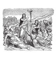 moses and the serpent of brass vintage vector image vector image