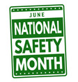 national safety month sign or stamp vector image vector image