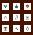 new icons colored line set with chinese lantern vector image