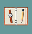office stuff with notepad and watch vector image vector image
