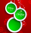 Paper White and Green Merry Christmas on Red vector image
