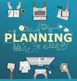 planning icons and working people with technology vector image vector image