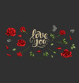 red roses hand drawn elements colored vector image vector image