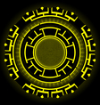 Round Futuristic Design With Black And Yellow vector image