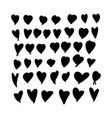 set hand-drawn doodle hearts valentines heart vector image vector image