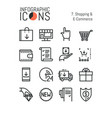 set of simple thin line icons shopping and e vector image vector image