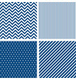 set seamless patterns in classic blue vector image vector image