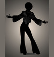 silhouette of man dancing soul funky or disco vector image vector image