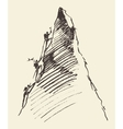 Sketch people climbing mountain peak vector image