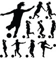 soccer women silhouette girl player vector image