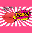 Speech bubble with woman lips in pop-art style