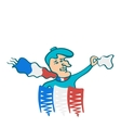 The Frenchman in the French scarf waving a scarf vector image vector image