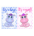 two cute cartoon hippo with beautiful eyes among vector image vector image