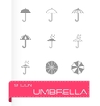 umbrella icon set vector image vector image