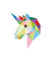 unicorn head with polygonal geometric style vector image