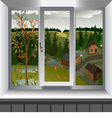 View from window of landscape of town Autumn vector image