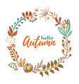 wreath of autumn leaves and fruit in doodle vector image