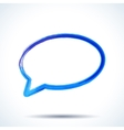 Blue watercolor brush painted ink speech bubble vector image
