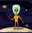 alien in a spacesuit cartoon style background vector image