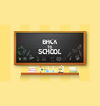 back to school text drawing on with school items vector image vector image