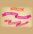 best price on sale money back per premium product vector image