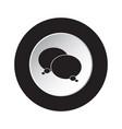 black white button icon - two speech bubbles vector image vector image